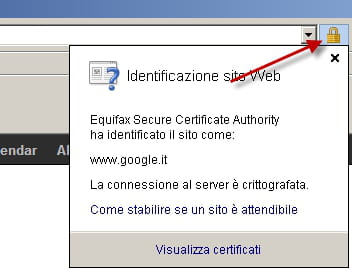 visualisazione di una connessione sicura da SSL in Internet Explorer