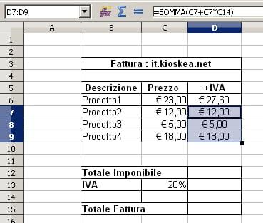 Copiare una formula in Excel