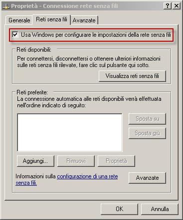Finestra di dialogo - Usa Windows per configurare le impostazioni della rete senza fili