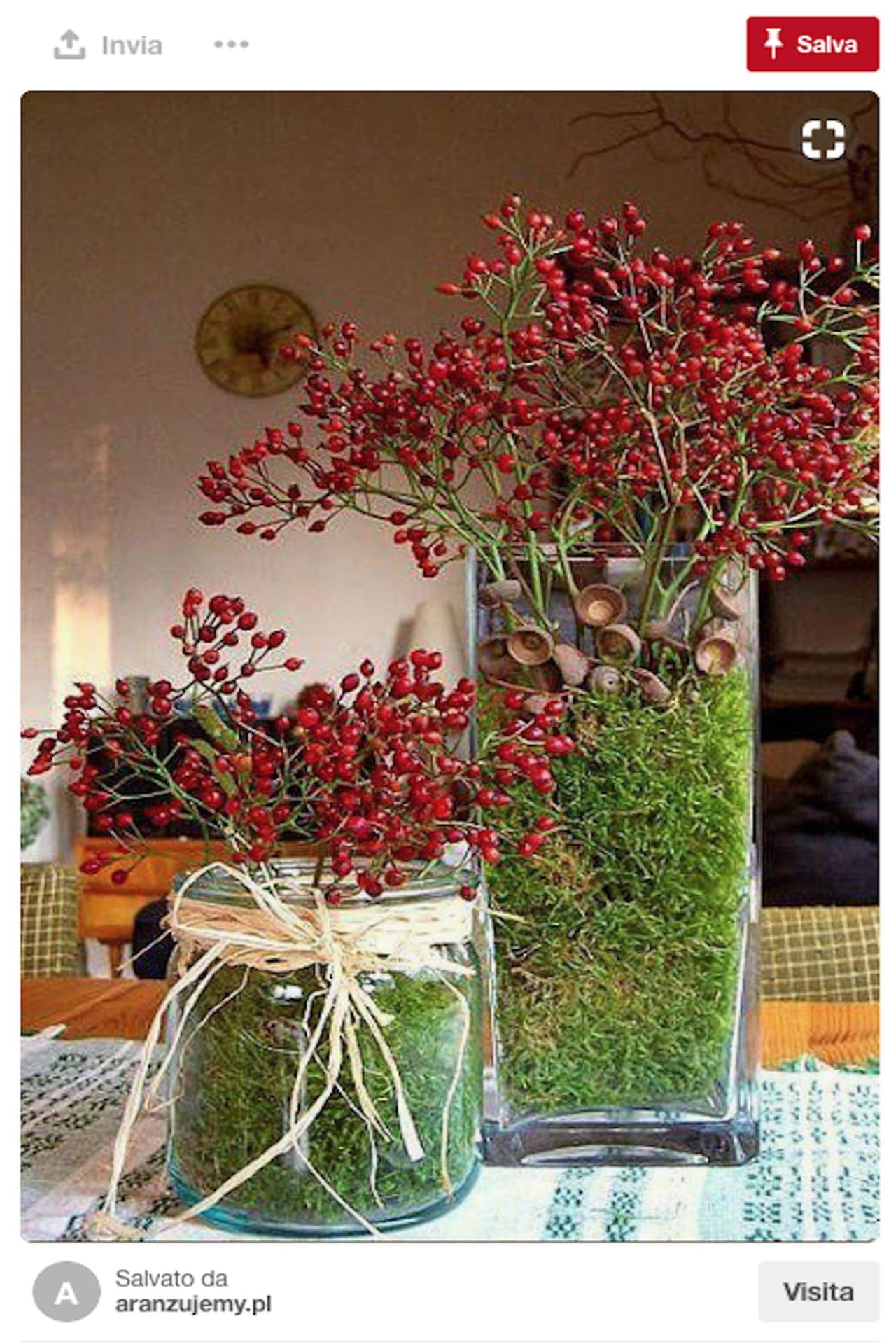 Centrotavola natalizio idee da pinterest con bacche for Composizioni soggiorno design