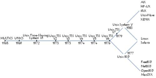 cronogramma delle diverse versioni di UNIX: HP-UX, AIX, BSD, IRIX, Mac OS X