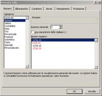 formato di una cella in Microsoft Excel