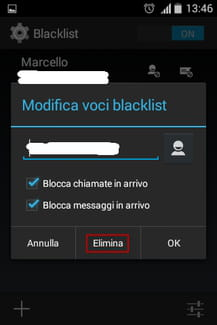Elimina dalla blacklist