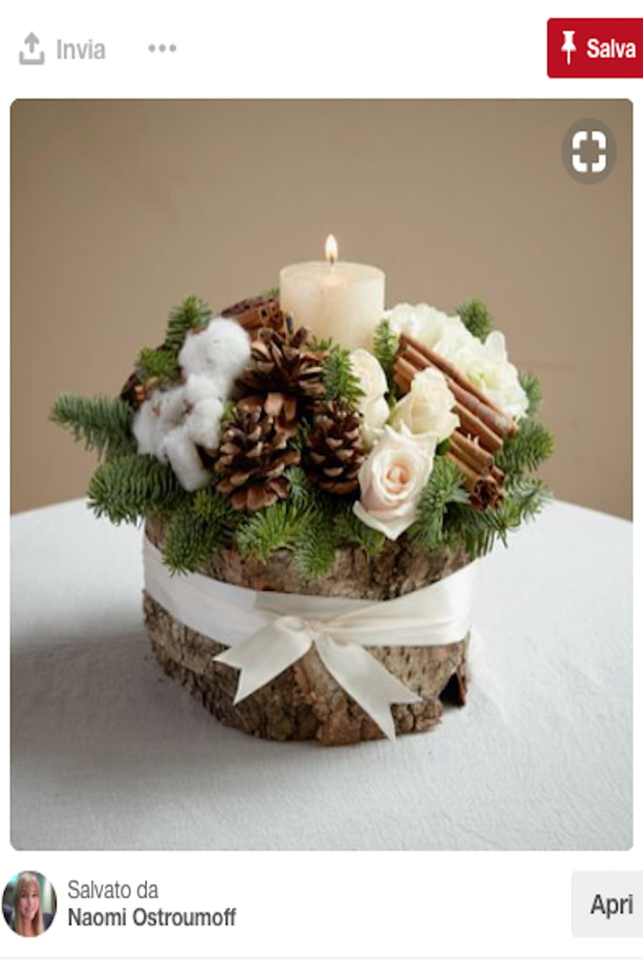 Decorazioni Natalizie Con Pigne E Candele.Centrotavola Natalizio Idee Da Pinterest Con Bacche Pigne