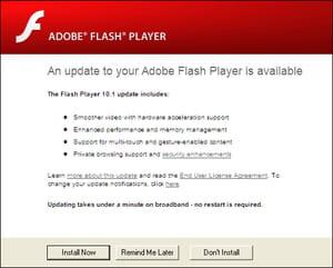 Adobe flash player-hämtning.