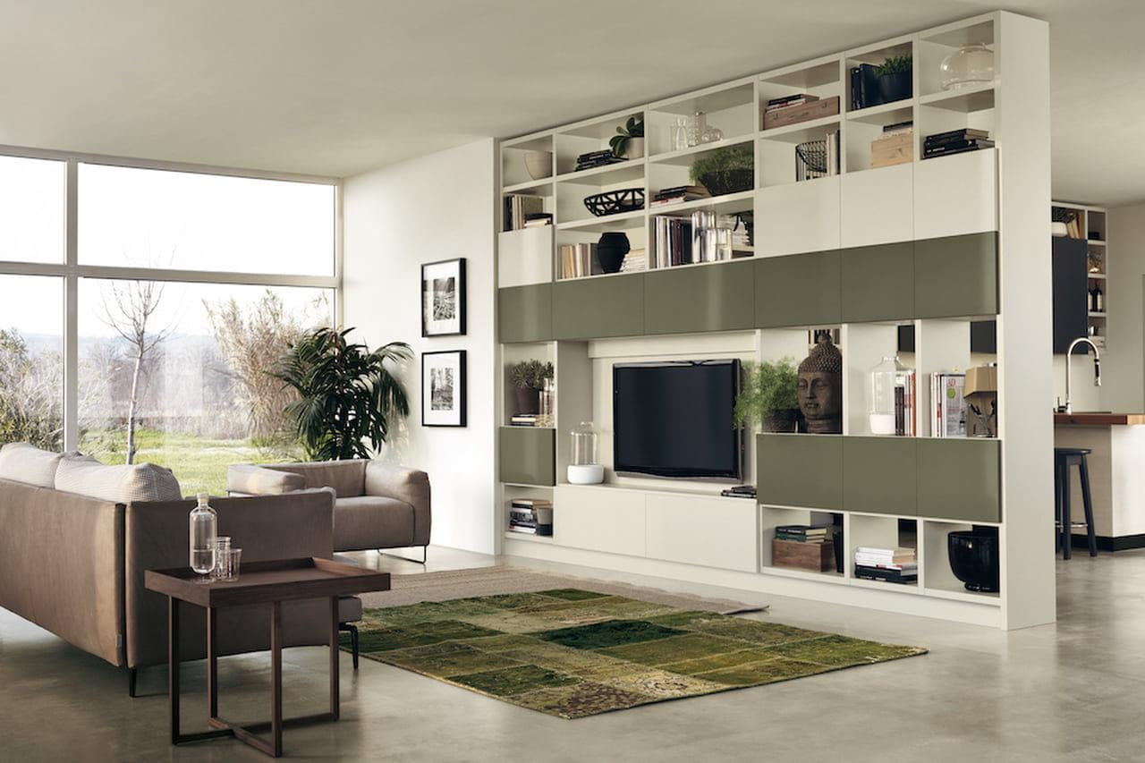 Pareti attrezzate moderne soluzioni per il soggiorno e for Soluzioni soggiorno